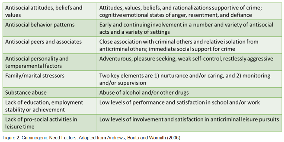 Criminogenic Needs Factors